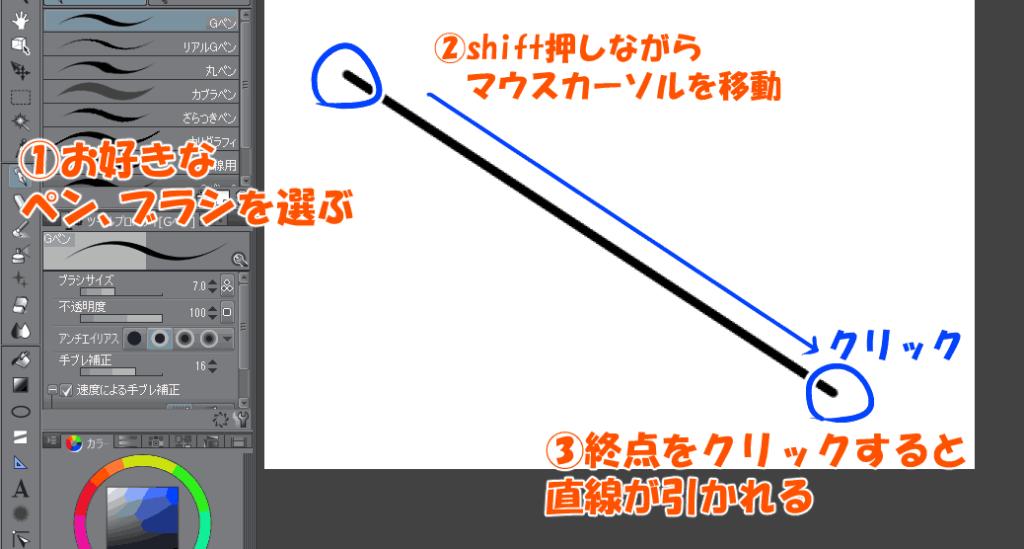 シフトキーで直線